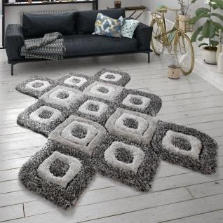 Hochflor Teppich Shaggy Wohnzimmer Langflor Cut-Out-Design 3D-Muster Grau