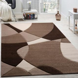 Designer Teppich Modern Geometrische Muster Konturenschnitt In Braun Creme Beige