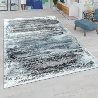 Kurzflor Wohnzimmer Teppich Modern Used-Look Abstraktes Muster In Grau-Blau