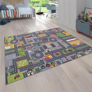 Spielteppich Kinderteppich Kinderzimmer Straßenteppich Straßen Design, In Grau