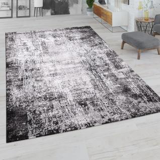 Teppich Wohnzimmer Kurzflor Vintage Abstraktes Muster Used Look Modern Schwarz