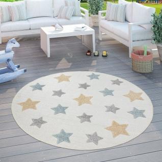 Kinderteppich Kinderzimmer Outdoorteppich Rund Spielteppich 3D Mit Sternen Beige