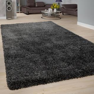 Hochflor Teppich Wohnzimmer Grau Anthrazit Soft Shaggy Modern Flauschig Weich