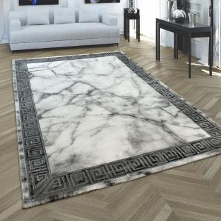 Teppich Wohnzimmer Kurzflor Marmor Optik Modern Bordüre Grau Silber Anthrazit