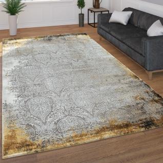Moderner Kurzflor Wohnzimmer Teppich 3D Optik Orientalisches Muster In Grau Gelb