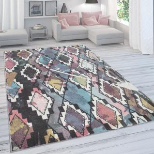 Designer-Teppich Für Wohnzimmer, Kurzflor In Pastellfarben, Rauten-Optik, Bunt