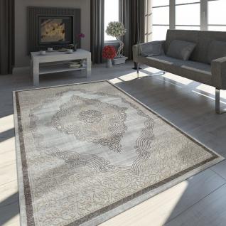 Orient Teppich Modern 3D Effekt Ornamente Meliert Gold Grau Schimmernd