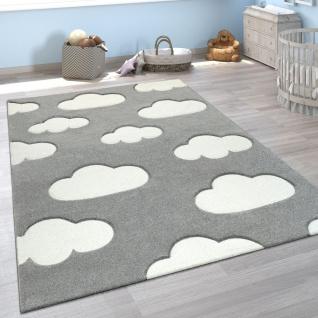 Kinderzimmer Teppich Grau Weiß Pastellfarben Wolken Motiv Kurzflor 3-D Design