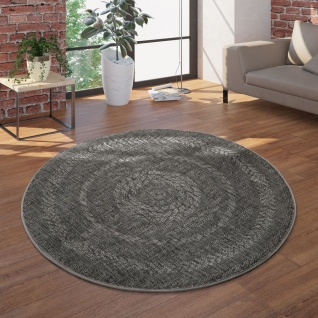 In- & Outdoor-Teppich, Rundes Flachgewebe Mit Sisal-Look Skandi-Design, In Grau