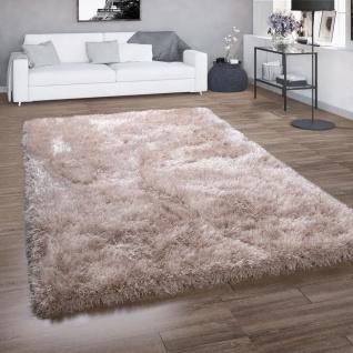 Hochflor-Teppich, Shaggy Für Wohnzimmer, Mit Glitzer-Garn, Einfarbig In Beige