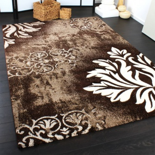 Designer Teppich Modern Handgearbeiteter Konturenschnitt Barock Braun Creme