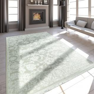 Hochwertiger Wohnzimmer Teppich Moderne Satin Optik Barock Design Fransen Creme