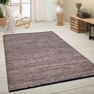 Teppich Wohnzimmer Kurzflor Handgewebt Modern Meliertes Ethno Muster Beige Blau