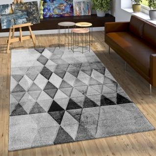 Designer Teppich Bunte Raute Muster Konturenschnitt Grau Anthrazit Creme Meliert