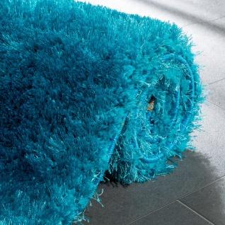 Edler Teppich Shaggy Hochflor Einfarbig Flauschig Glänzend In Türkis - Vorschau 4