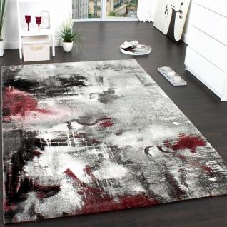 Teppich Modern Designer Teppich Leinwand Optik Meliert Schattiert Grau Rot Creme