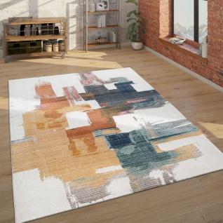 Teppich Wohnzimmer Kurzflor Mit Abstraktem Muster Hell Und Modern, Weiß Und Bunt