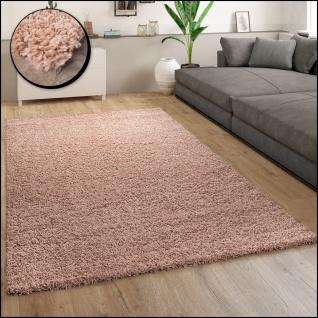 Hochflor Teppich Wohnzimmer Shaggy Langflor Modern Einfarbig Rosa