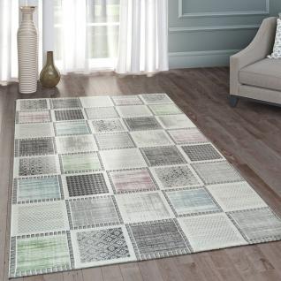 Moderner Heatset Designer Teppich Patchwork Muster Pastell Grau Rosa Blau Grün