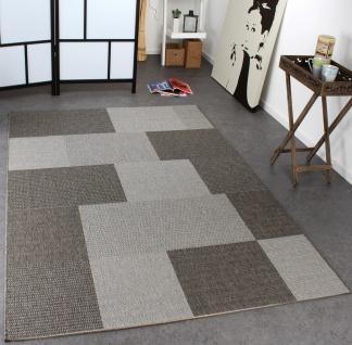 In- & Outdoor Teppich Modern Flachgewebe Kariert Sisal Optik Grau Töne