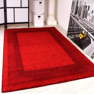 Velours Kurzflor Teppich - Winchester - Modern mit Bordüre in Rot