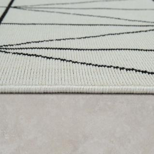 Outdoor Indoor Teppich Weiß 3D Optik Bordüre Skandinavisches Design Kurzflor - Vorschau 3