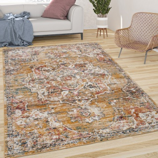Teppich Wohnzimmer Kurzflor Vintage Pastell Orient Muster Mit Bordüre Gelb Beige