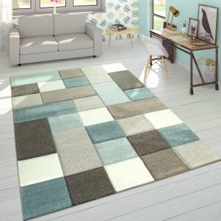 Designer Teppich Modern Konturenschnitt Moderne Pastellfarben Kariert Beige Blau
