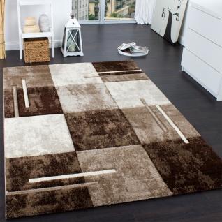 Designer Teppich Modern mit Konturenschnitt Karo Muster Marmor Optik Braun Creme