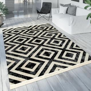Teppich Schwarz Weiß Balkon Terrasse Outdoor Skandi-Design Rauten-Muster Robust - Vorschau 1