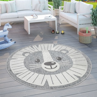 Kinderteppich Kinderzimmer Outdoorteppich Rund Spielteppich 3D Effekt Löwe Grau