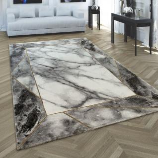 Wohnzimmer Teppich Grau Gold 3-D Bordüre Marmor Muster Strapazierfähig Kurzflor