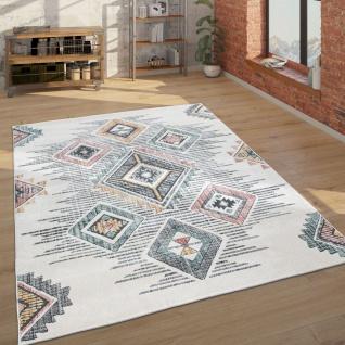 Teppich Wohnzimmer Geometrisches Ethno Muster Kurzflor Mehrfarbig Beige Grau Rot