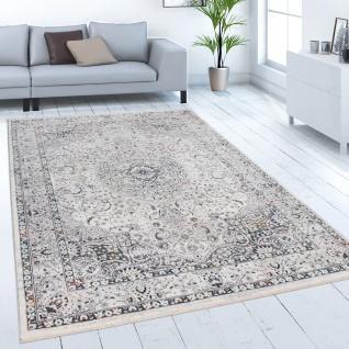 Teppich Wohnzimmer Kurzflor Modern Orient Muster Ornamente Bordüre Creme Grau