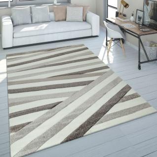 Teppich Wohnzimmer Braun Beige Streifen Muster Kurzflor 3-D Design Robust Weich