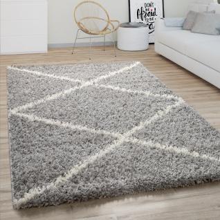 Hochflor Teppich Wohnzimmer Shaggy Skandinavisches Rauten Muster, Modern In Grau