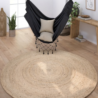 Teppich Rund Wohnzimmer Jute Modern Boho Handgefertigt Natur-Teppich Creme Beige