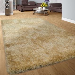 Moderner Wohnzimmer Shaggy Hochflor Teppich Soft Garn In Uni Gold