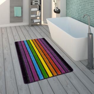 Badematte, Kurzflor-Teppich Für Badezimmer Mit Streifen-Muster, 3-D-Effekt In Bunt