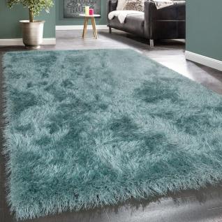 Shaggy Hochflor Teppich Modern Soft Garn Mit Glitzer In Uni Pastell Türkis
