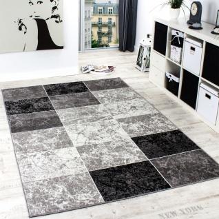 Designer Teppich Kariert in Marmor Optik Meliert Grau Schwarz Weiss Ausverkauf