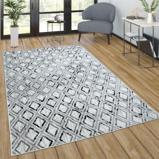 Teppich Wohnzimmer Kurzflor Vintage Modernes Skandinavisches Muster Grau Creme