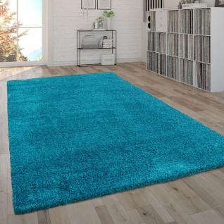 Hochflor-Teppich, Shaggy-Teppich, Moderner Wohnzimmer-Teppich In Türkis