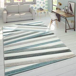 Designer Teppich Modern Konturenschnitt Pastellfarben Gestreift Creme