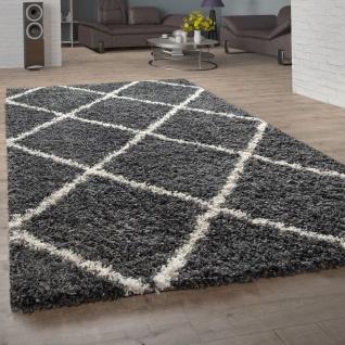 Hochflor-Teppich, Shaggy Für Wohnzimmer, Skandi-Stil Und Rauten In Dunkelgrau