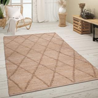 Teppich Wohnzimmer Jute Handgefertigt Modernes Skandi Muster 3D Effekt Beige