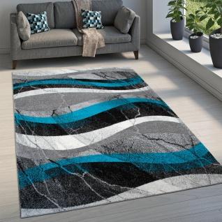 Teppich Wohnzimmer Kurzflor Used Look Marmor Beton Optik Modernes Wellen Muster