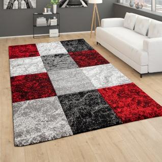 Teppich Wohnzimmer Kurzflor Geometrisches Muster Kariert 3D Design Rot Grau