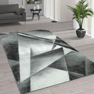 Kurzflor Wohnzimmer Teppich Moderne Melierung Geometrische Muster Grau Anthrazit
