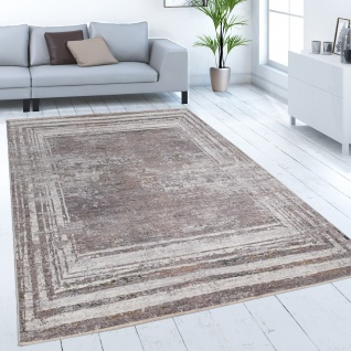 Teppich Wohnzimmer Kurzflor Abstraktes Vintage Muster Mit Bordüre Grau Beige